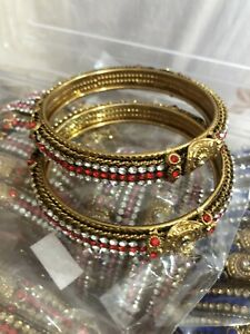 Karaa / Bangles Gold Plated Red White Crystal Stones.Size 2.8 Costume Jewellery