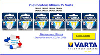 Button cell 3V lithium Varta blister, free shipping worldwide