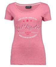Para mujer Talla 10 Real Madrid secuencia de comandos de Algodón Camiseta Top fútbol fútbol Rosa