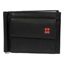 Slim Herren Damen echt Leder Geldbörse mit Geldklammer RFID Schutz Schwarz NEU