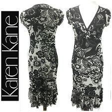 24866f502817 Karen Kane Dress Size Small Women's Black White Floral Print Sheath Short  Sleeve