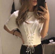 Zara White Corset Top/ T-shirt, Size S, New