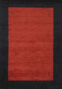 Contemporary Bordered Gabbeh Oriental Area Rug Modern Handmade Wool Carpet 4'x6'