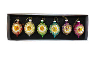 Sass and Belle Set of 6 Vintage Glass Christmas Tree Bauble Decorations