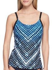 CALVIN KLEIN® L Sky Blue Ombre Chevron Tankini Swim Top NWT $98