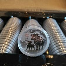 MINT-SEALED ROLL 2021 AUSTRALIAN SILVER LUNAR SERIES 3 YEAR OF THE OX - 20 COINS