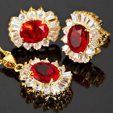 Red Ruby Oval Cut Necklace Pendant Earrings Gemstone 18K Gp Jewelry Set