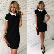 Women's Lapel Neck Short Sleeve Loose Fashion T-Shirt Dress T3