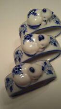 Napkin Rings Porcelain Ceramic 3 Sleeping Kittens Cats w/Blue Flowers