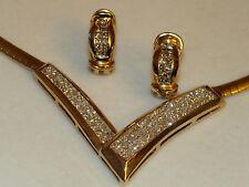14K YG Invisible Princess Cut Diamond  Omega Choker Earrings Set 35.1 App $7400