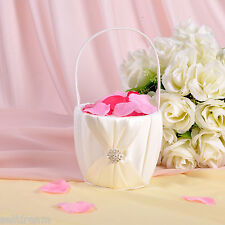 Ivory Satin Bow Flower Girl Baskets -GB11d