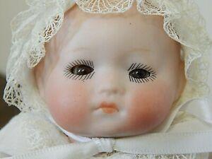 """Antique 8"""" Hermann Steiner 240 Bisque Head Dream Baby Type Doll in Wicker Basket"""