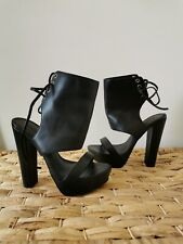 Windsor Smith Women's Heels Size 7 Lace Up Black Thick Platforms