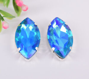 100 pcs Sew On Crystal Rhinestone Faceted Glass Color AB Navette Jewels Button