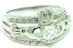 Real Claddagh White Sapphire & 20 Diamond 9ct 375 Solid Gold Celtic Irish Ring