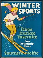 Yosemite Winter Sports California Tahoe Nevada US Travel Advertisement Poster