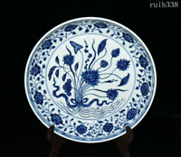 collection old China Ming Dynasty Blue and white a tuft of lotus porcelain plate