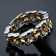"Heavy 18mm Cool Mens Motorcycle Biker Chain Bracelet 316L Stainless Steel 9"""