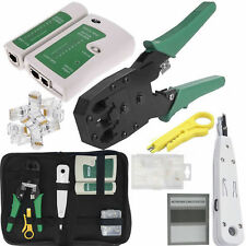 Networking RJ45 Connectors Crimper Crimping Cable Tester Punch Down Stripper Kit