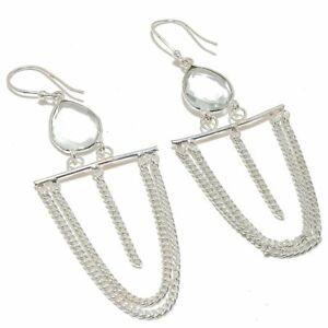 "White Topaz Gemstone 925 Sterling Silver Jewelry Earring 3.3"" S2667"