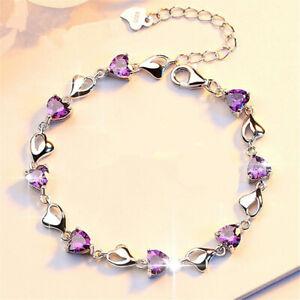 18K Silver Plating Heart Hollow Bracelet Charm Link Womens Girl Jewellery purple