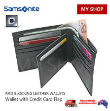Samsonite RFID Blocking Leather Wallet with Credit Card Flap Black