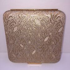 Square Mirror Compact By LIN-BREN Gold Shimmery Material With Gold Trim 2425540