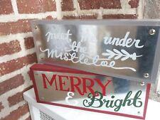 CELEBRATE IT Metal and Wood Block SIGNS - Christmas: Mistletoe / Merry & Bright
