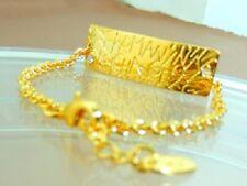 Armani Exchange White Crystal Logo Charm Gold Tone Link Chain Bracelet