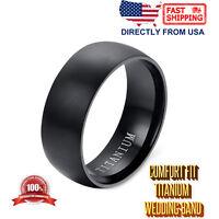 Men's Titanium Wedding Ring 8mm Matte Finish Wedding Band, Comfort Fit