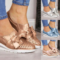 Womens Ladies High Wedge Platform Shoes Espadrilles Autumn Sandals Bowknot Shoes