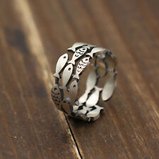 Fashion 925 Silver Plated Fishes Ring Adjustable Lovely Cute Design Girls Gift