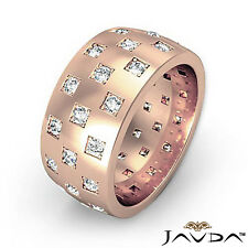 Men Round Diamond Eternity Wedding Band 14k Rose Gold 9.4mm Unique Ring 1.35 Ct.