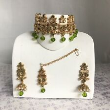 Gold Mehndi Green Pearl choker necklace jhumka earring tikka indian Pakistani