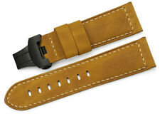 24mm Brown Genuine Leather Wristband Deployment Buckle Watch Strap For Panerai