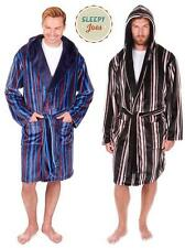Mens Hooded Luxury Soft Feel Striped Dressing Gown Robe M L XL 2xl 3xl Navy XXL