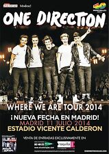 "ONE DIRECTION ""WHERE WE ARE TOUR 2014"" MADRID, SPAIN CONCERT POSTER - Pop Music"