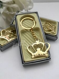 12-Baby Shower Favors Crown Princess Table Party Decoration Girl Keychains Gold