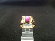 14k Yellow Gold Star Ruby Ring Size 9