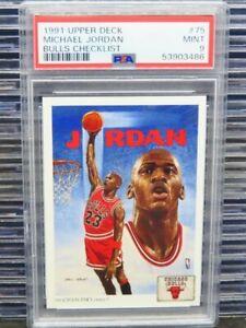 1991-92 Upper Deck Michael Jordan Bulls Checklist #75 PSA 9 Mint Bulls (86) D262