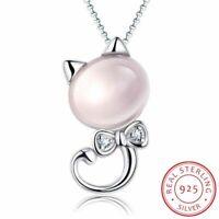 925 Sterling Silber Halskette Rosa Mond Licht Stein Katze Anhänger Damen Schmuck