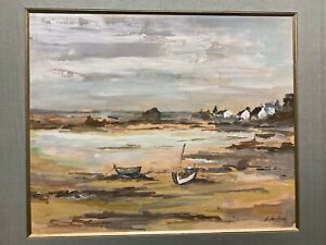 tableau gouache Bretagne signée LECLERCQ Marine bateau