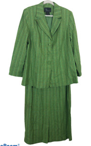 St Anthony 18W Skirt Suit 2 PC Green Tweed Long Sleeve Plaid Vintage Womens
