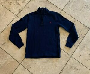 Boys POLO Ralph Lauren Solid Blue ¼ Zip Pullover Sweater  Size L 14/16