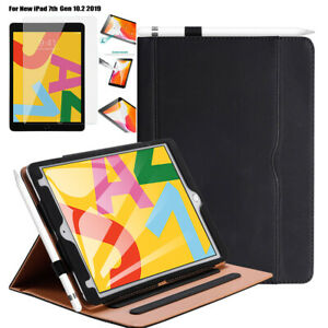For iPad 8th Generation Case iPad 10.2 Glass 2020, Leather Folding Stand Cover