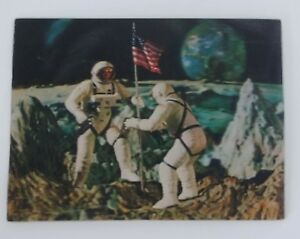 Lenticular Flicker Postcard Astronauts Plant Flag Moon 3D Posted from Space Cntr