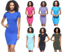 S M L Women's Basic Bodycon T-Shirt Dress Stretch Fitted Mini Solid Plain Casual