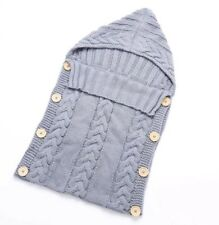 Sleeping Bag, Thick Knitted Style Blanket, Button Up Hooded Cover, Grey. Unisex