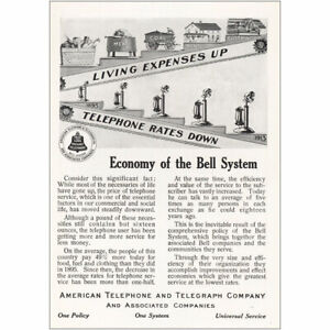 1913 American Telephone: Living Expenses Up Vintage Print Ad
