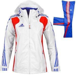 Adidas Damen Regen Jacke Windjacke Sport Parka Laufjacke Ski Team France weiss